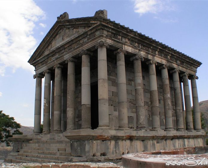 Garni Pagan Temple in Kotayk,  Armenia - was built in the first century A.D. by the Armenian King Tiridates (Dertad Takavor) with the money he received after visiting Emperor Nero in Rome.
