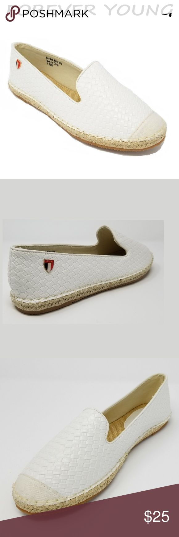 """Women Wicker Espadrille Flats, E-2601, White Brand new Forever Young super popular stitched espadrille smocking slippers with basket weave design. Extra soft insoles. Textured rubber outer sole for traction. Cute emblem in the back. 100% man made with PU vegan leather. Measurements: sizes 6 through 8 are true to size. Sizes 8.5 - 11 run small. Standard 3 inch width. Size 8 measures 9.5 inches, sz 8.5 = 9 3/4"""", sz 9 = 10"""", sz 10 = 10.5"""", size 11 fits a true size 9.5 wearer. A true statement…"""