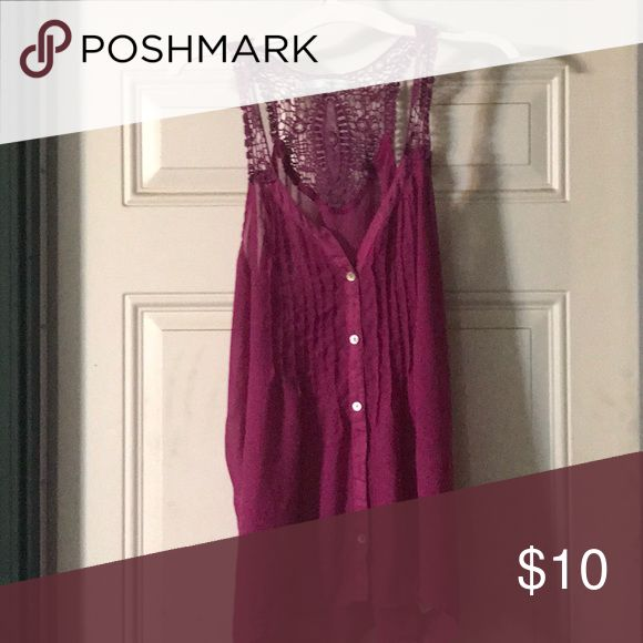 Tang top Raspberry tang top with a lace trim Maurices Tops Tank Tops
