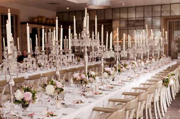 Babington House Wedding - Elegant Candles & Table Setting