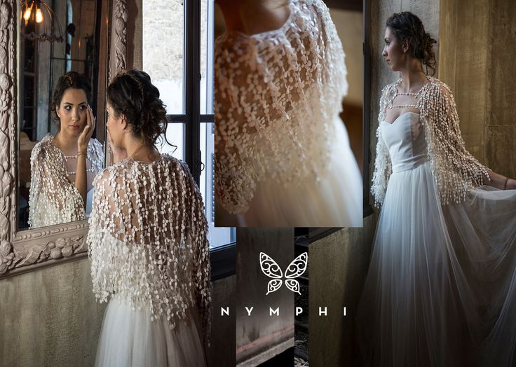 Elivina bridal top Soft tulle and macrame lace short jacket Bachdi resort2017  by  www.nymphidesign.com