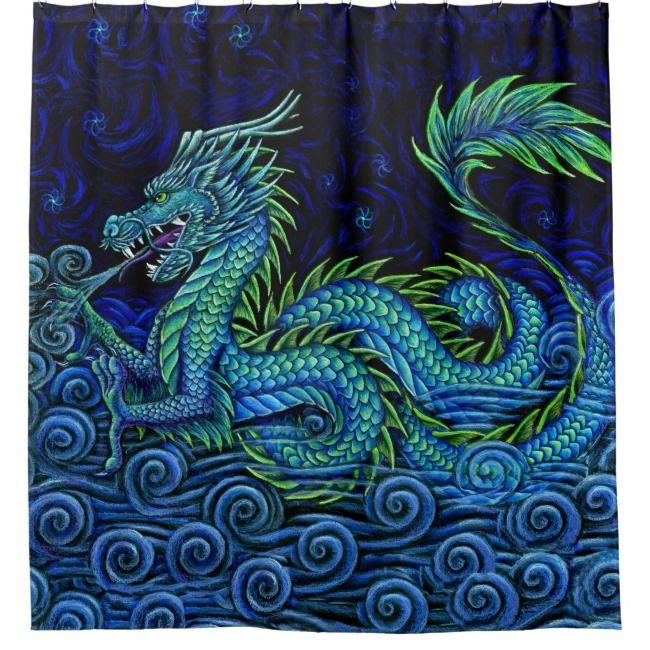 Chinese Azure Dragon Left Facing Shower Curtain Showercurtains