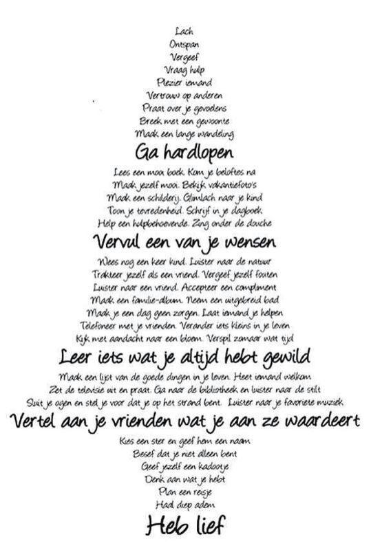Kerstwensen of goede voornemens voor het nieuwe jaar.......