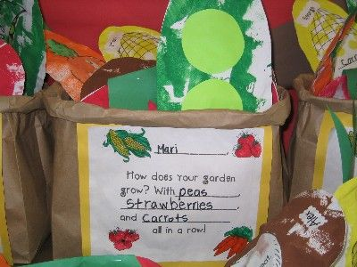 """Food Pyramid Study/Produce Bags with stuffed fruits & vegetables (items labeled as """"seed"""", """"flower"""", """"root"""") Could use in plant study as well"""