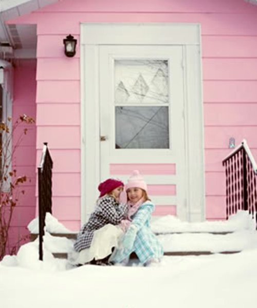 .Best Friends, Snow Pink Winter, Little House, Pink House, Colors Pink, Tickle Pink, Pink I Love Winter, Snow Angels, Friends Quotes