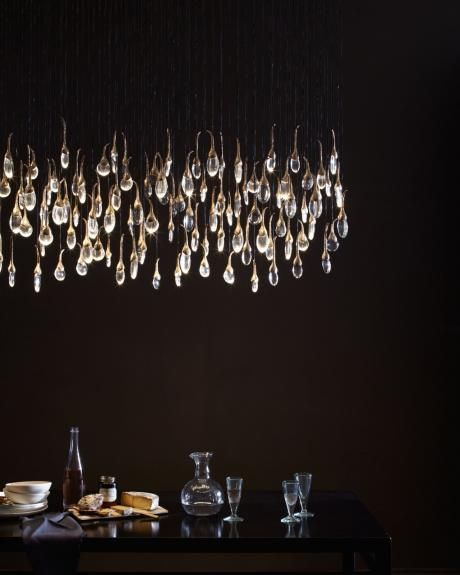 Seed Cloud Chandelier - rectangular 112 buds. Featuring solid cast bronze buds (polished), each housing tempered glass drop illuminated by LED. Also available in satin nickel finish. OCHRE lighting design