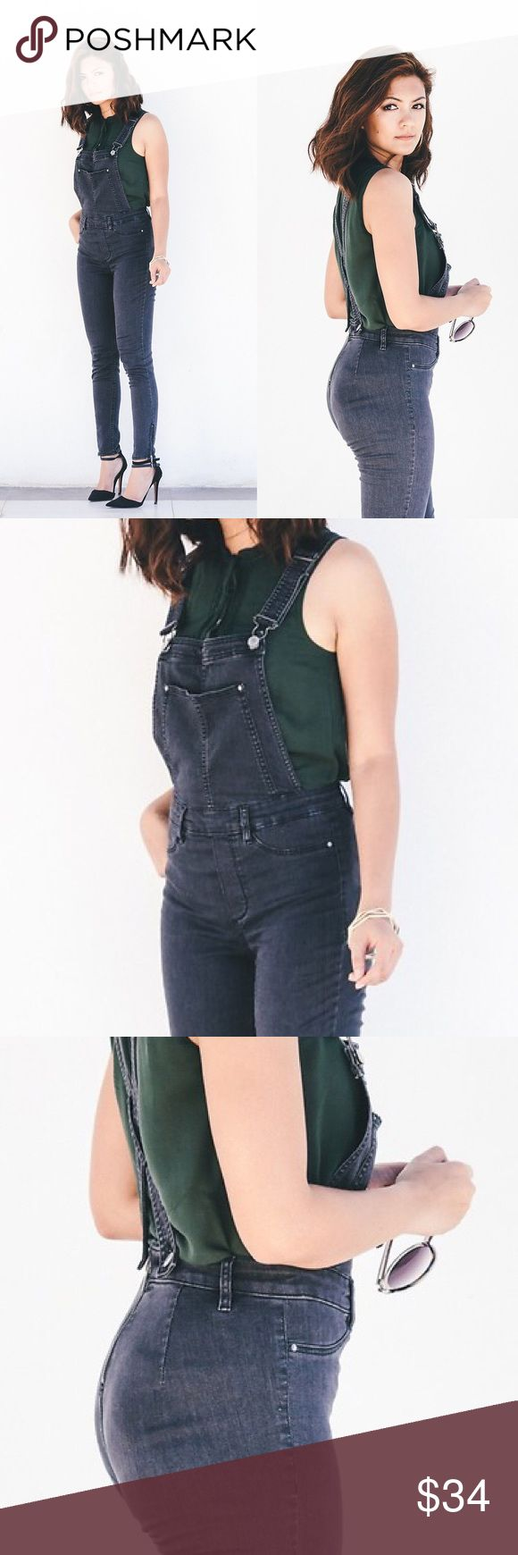 H&M Washed Out Black Skinny Ankle Overalls Size 4 Worn only once. Washed out look just like in the photos. Side zip ankles. These are super cute I got them thinking I can be an overalls girl but I'm just not. Lol. Would be a great addition for whomever does wear them. True h&m US Size 4. H&M Pants Ankle & Cropped