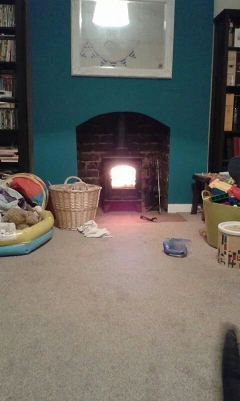 Teal Chimney Breast Love It Woodburning Stoves Pinterest Teal Fire Places And Living Rooms