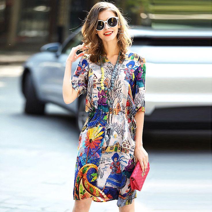 Large size dress 2017 summer new printing dress silk dress