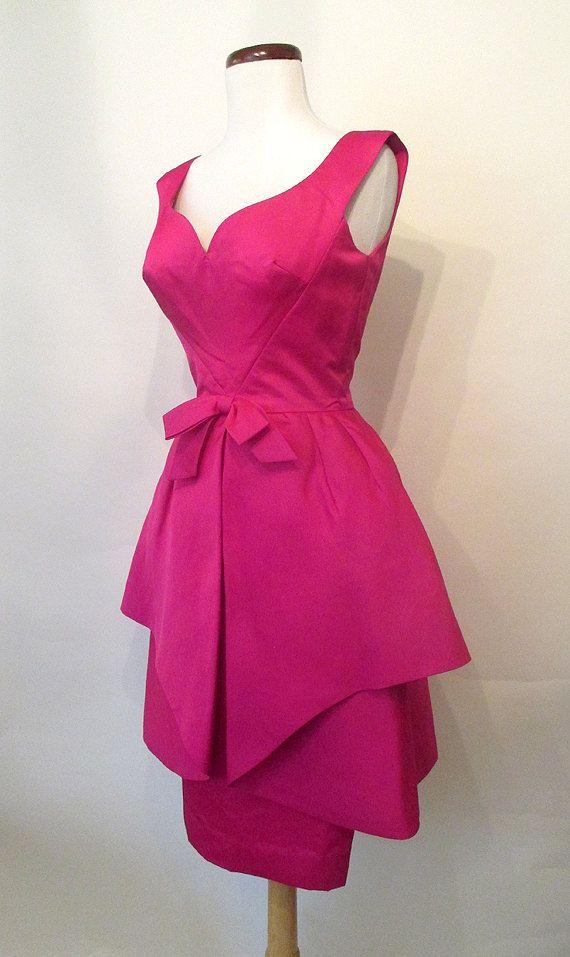 Chic 1950's Couture Designer Deep Fuchsia Silk by wearitagain