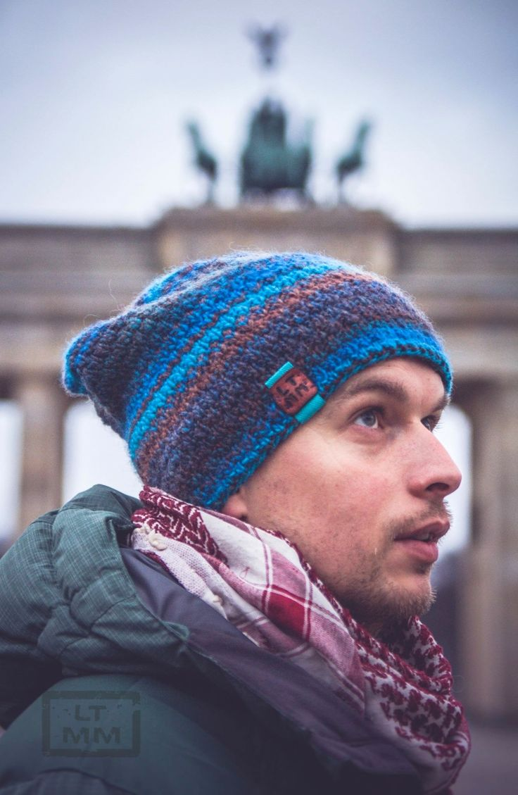 Beanie hat with fleece - knitting  (Katia, AZTECA - 53% wool, 47% acrylic) by LessTalk MoreMake.