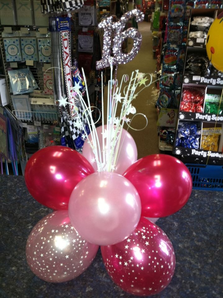 300 Sweet 16 Table Centerpiece Party Outlet 219-531-2623 www.facebook.com/party.outlet.valpo http://partyoutletpartysupplies.com
