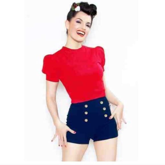 High waisted navy blue shorts  sc 1 st  Pinterest & 32 best 1940s hairstyles images on Pinterest | Hair dos 1940s ...