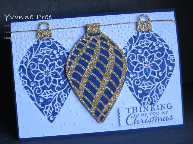 Embellished Ornaments, Delicate Ornaments framelits Stampin' Up!, Yvonne Pree, 2015 Holiday Catalogue, Christmas 2015