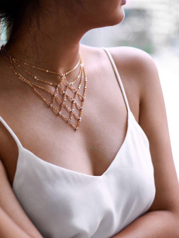 83ef3649a0 Rhinestone Decorated Geometric Chain Necklace -SheIn(Sheinside ...