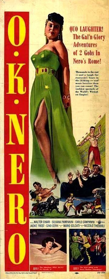 """U.S. poster for Mario Soldati's """"O.K. Nerone"""" (English title: """"O.K. Nero!"""", 1951), starring Walter Chiari, Silvana Pampanini, Carlo Campanini and Gino Cervi."""