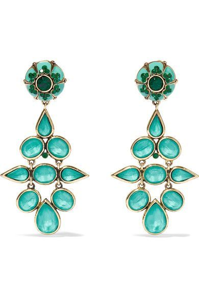 Etro - Gold-tone, Crystal And Enamel Clip Earrings - Turquoise - one size