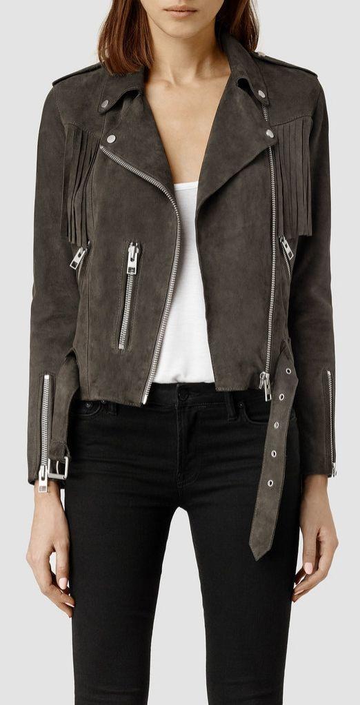 The Suede Jacket | All Saints Tassel Leather Biker Jacket ($595)
