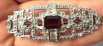 STUNNING VINTAGE ESTATE HIGH END RED RHINESTONE SILVER TONE BROOCH!!! G530   Jewelry & Watches, Vintage & Antique Jewelry, Costume   eBay!