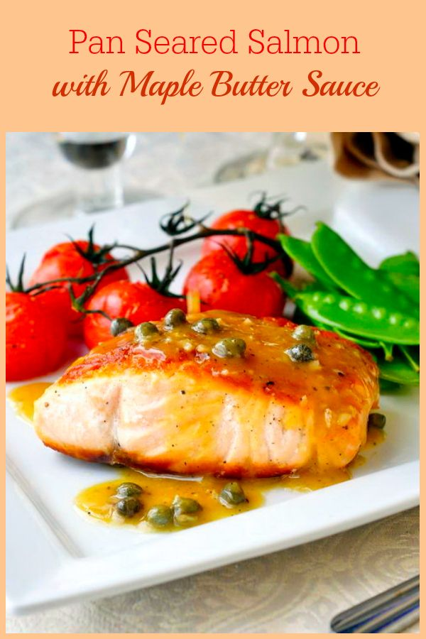 Pan Seared Salmon with Dijon Maple Butter Sauce - This simply seasoned and pan seared salmon gets served with a luscious, easy to make maple butter sauce made from just a few simple ingredients. This recipe is easily prepared in about 20 minutes making it suitable to do double duty as a worthy dinner party dish or a quick and easy workday dinner.