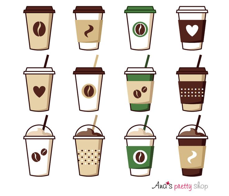 Coffee cup clipart, coffee vector illustrations, coffee pot, coffee break, espresso, cappuccino, latte,  mocha, ice coffee, paper cup by AnasPrettyShop on Etsy https://www.etsy.com/listing/473319027/coffee-cup-clipart-coffee-vector