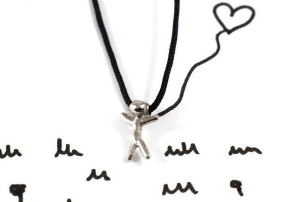 Stickman necklace sterling silver stickman man by Akatergasto