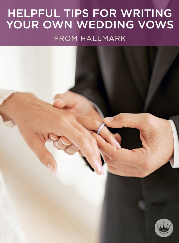 Writing your own wedding vows? Use these helpful tips and template from Hallmark writer and romance novelist, Stacey Donovan. Includes wedding vow examples and ideas. #Hallmark #HallmarkIdeas