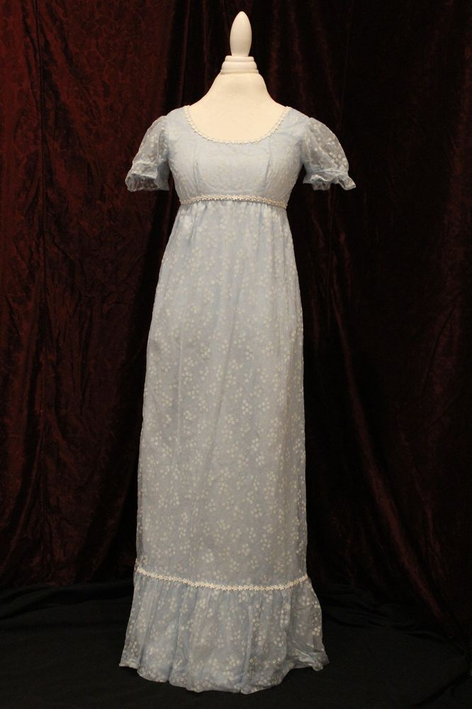 Vintage women's clothing - 1960s light blue empire waist dress -retro ladies app #EmpireWaist