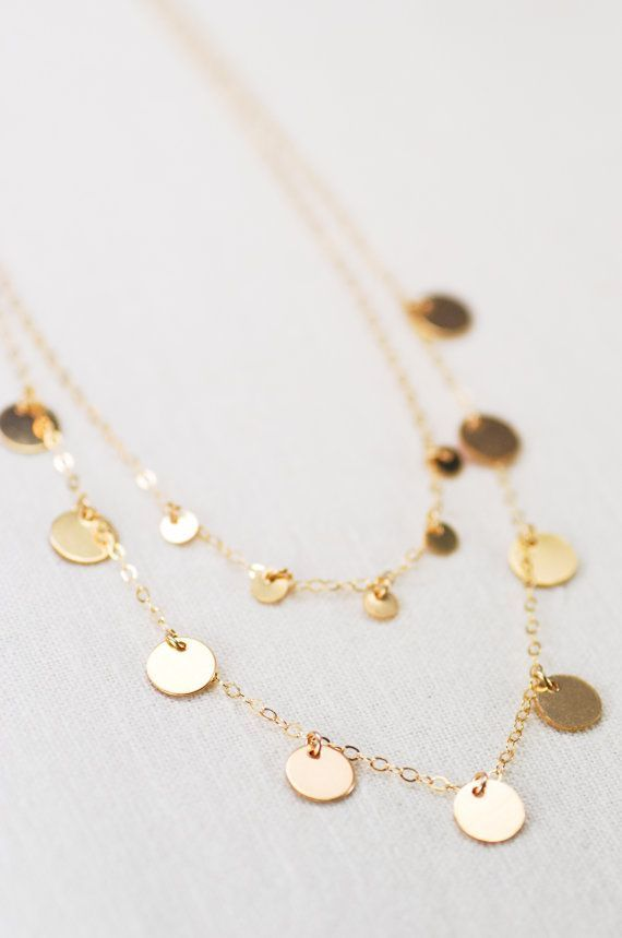Aonani necklace double layered gold sequin