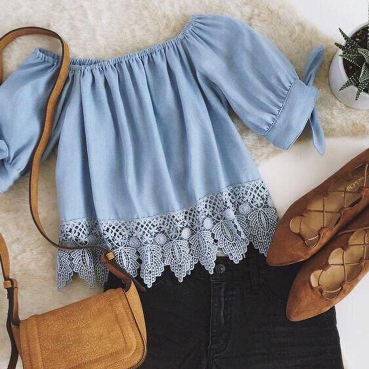 Blue Lace Off-shoulder Casual Blouses Crop Tops