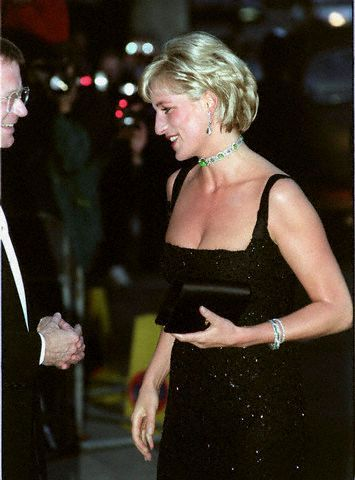 DIAMOND AND EMERALD ART-DECO BRACELET PRINCESS DIANA GOING TO A GALA DINNER  Image: © GRAHAM TIM/CORBIS SYGMA   Photographer:   Tim Graham    Date Photographed:   July 1, 1997