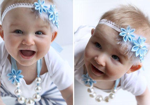 CHOOSE COLOR Blue Baby Headband newborn headband by OlelyDesign