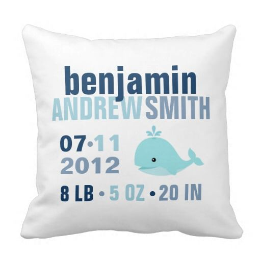 Whimsical Whale Baby Birth Announcement {blue} Pillows