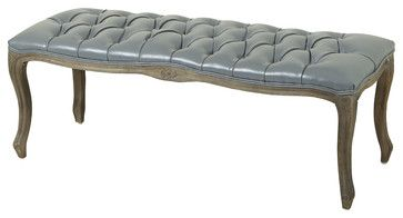 Francis Gray Leather Ottoman Bench traditional-dining-benches