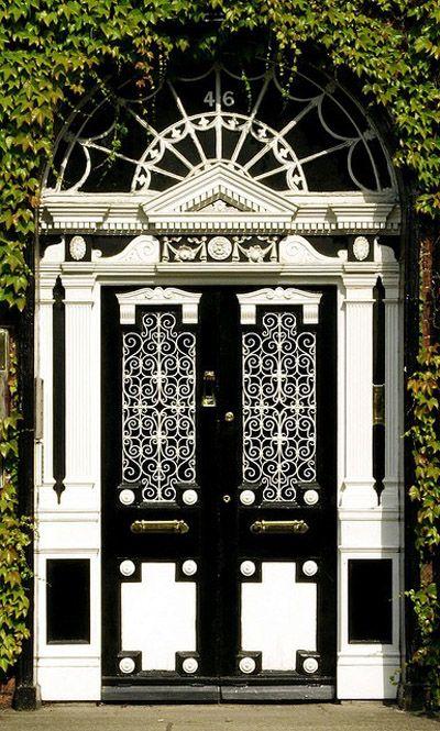 black and white doorway