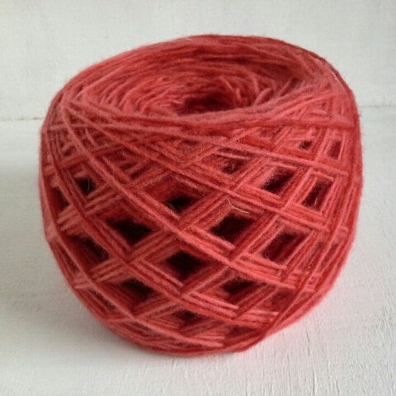 hand dyed yarn coral red fingering yarn wool yarn by KoloroStudio