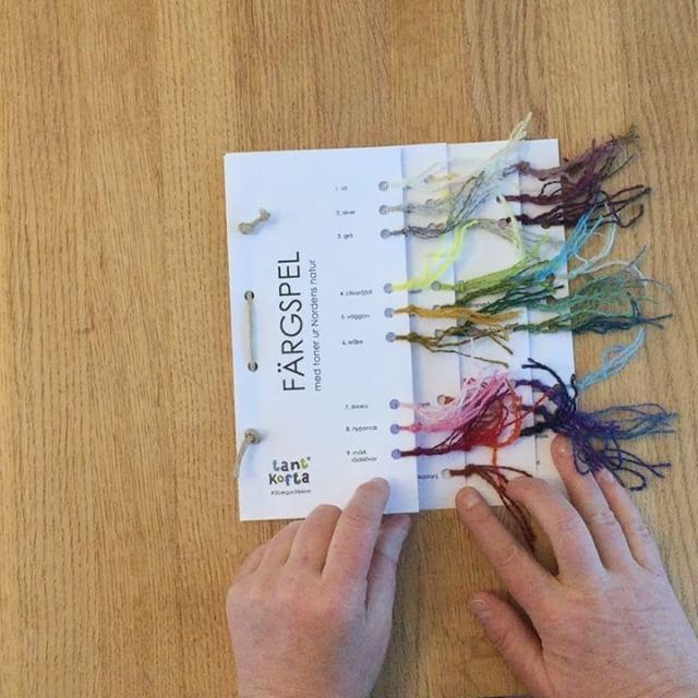 """Idag har vi gjort färgkartor till """"Färgspel med toner ur Nordens natur"""". Här finns info om det vackra garnet, tankar om färger på garn och en stickbeskrivning till ett par finfina halvvantar. Design Erika Åberg. Garnet, flera modeller och färgkartorna gör premiär på Syfestivalen i Älvsjö om en vecka. #åbergochblom #spelsaulammull # #hoelfeldtlund . Tusen tack till @tettanr @stinastick @sylvialycktberg och @fru.thoren som med sina flinka fingrar knutit många knutar."""