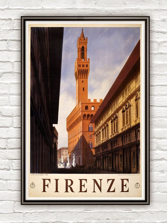 Vintage Poster of Florence Firenze Italy Italia  1920 Tourism poster travel. 18x12. $22.00