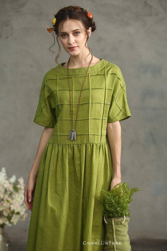 bf46f56147 Olive Green Linen Dress