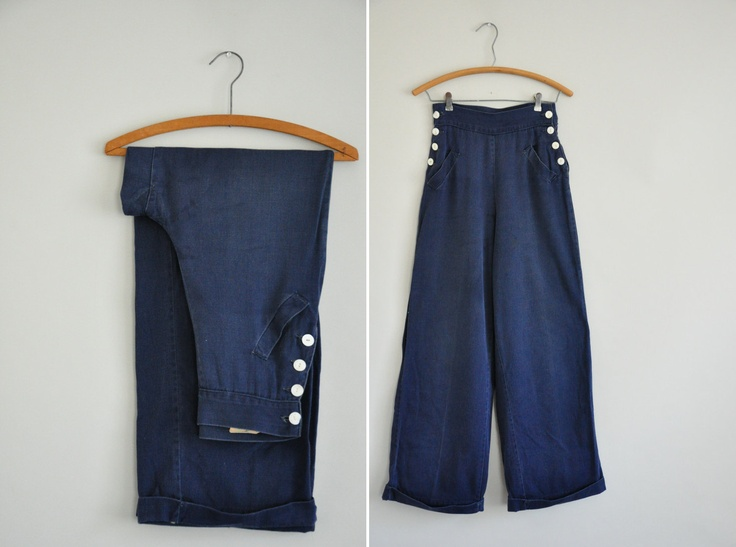 vintage 1940s sailor jeans / 40s jitterbug wide leg pants / Blue Ribbon Stroll. $145.00, via Etsy.
