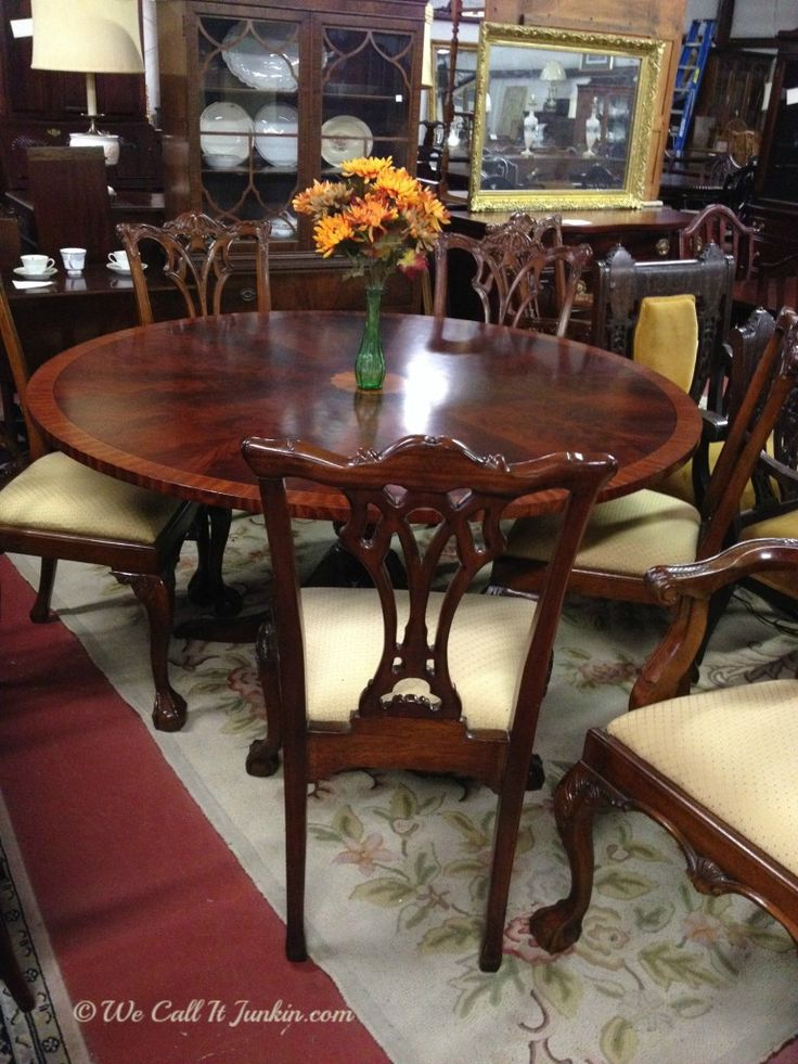 Round table with armchairs