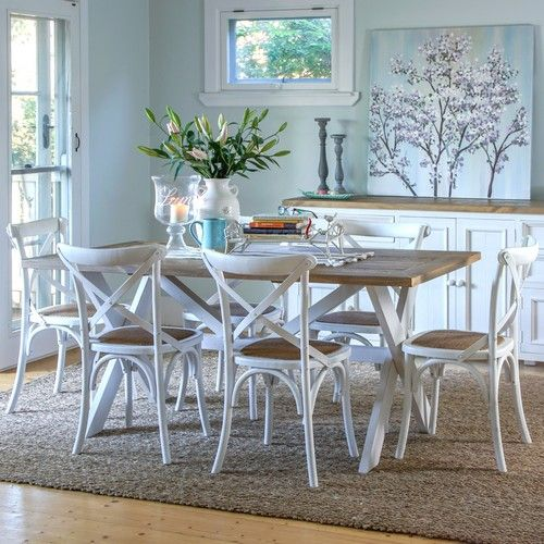 Byron 1800 Dining Package with French Cross Chairs (Table - 1800W x 900D x 785H mm.  Chairs - 460W x 420D x 870H mm) RRP $1,243