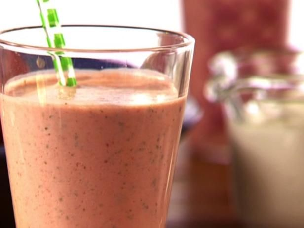 Get Aarti Sequeira0's Strawberry-Basil Yogurt Cooler - Lassi Recipe from Cooking Channel