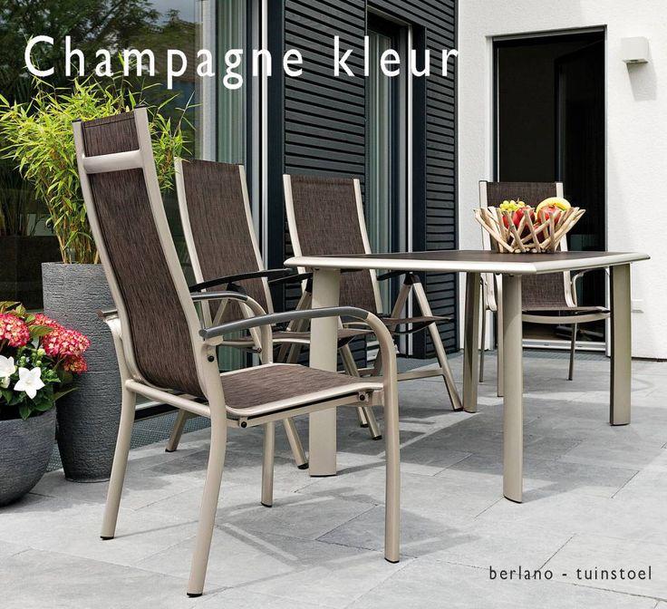 Apart Design Tuinmeubels Champagne kleur metaal met grijs en donkerbruin. Sterk lichtgewicht moderne Tuinstoel verstelbaar met hoge rugleuning. Aparte Tuinstoel en Tuintafel in bronskleur Champagne kleur en zilvergrijs