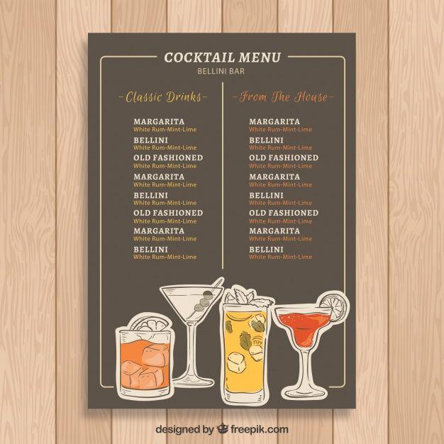 Lade Elegante Moderne Cocktailkarte Vorlage Kostenlos Herunter In 2020 Cocktailkarte Cocktail Getranke Karte