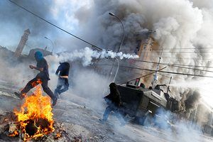 Valparaiso, Chile. Anti-government demonstrators clash with riot police as President Michelle Bachelet delivered her annual address to the nation