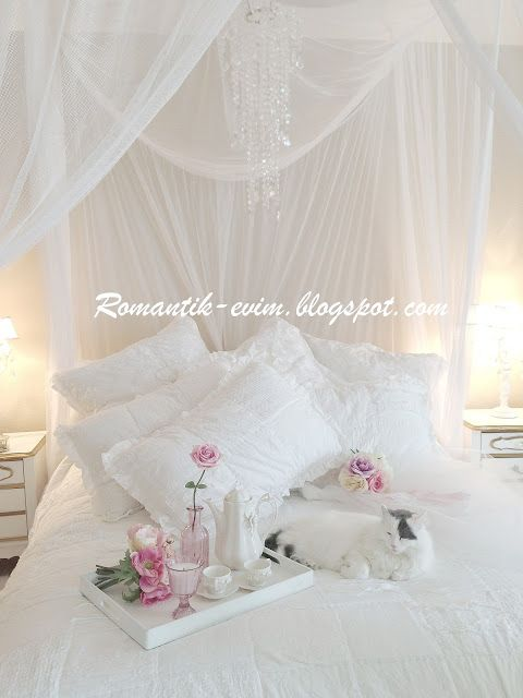 My Shabby Chic Home My Romantic Home ~ ~ Romantic Home: Romantic Home: My Bedroom - Bedroom-shabby-chic white bed room
