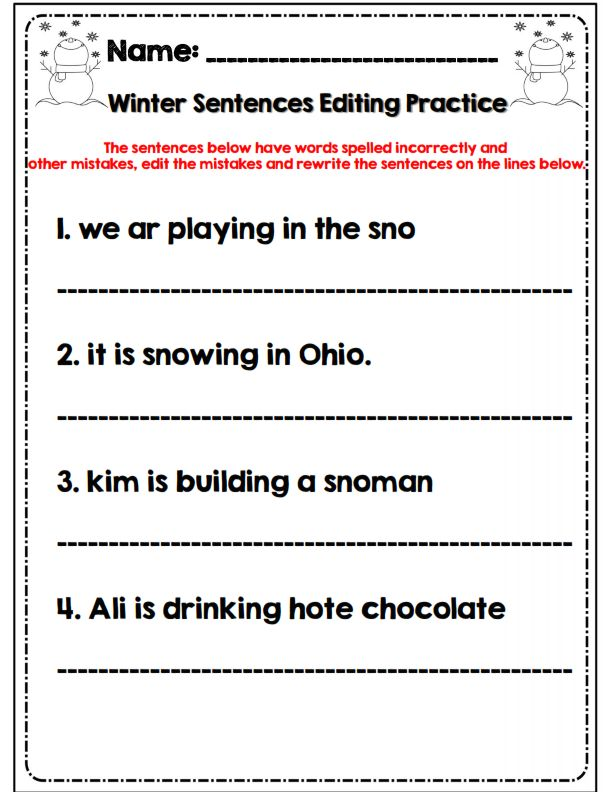 Editing practice worksheets for class 9