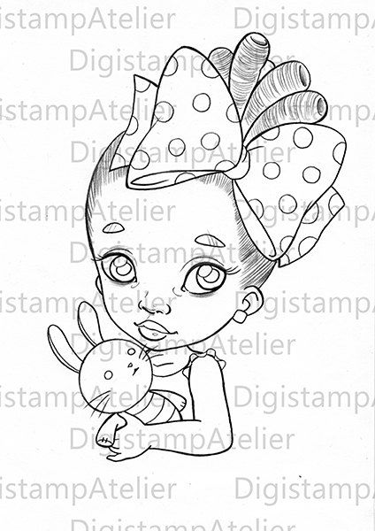 Black Babe with Puppet. INSTANT DOWNLOAD by digistampatelier