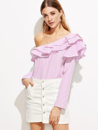 Pink Vertical Striped One Shoulder Ruffle Trim Top